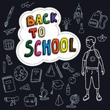 Back to school, poster with doodles drawn by hand, schoolboy goes to school, set of school icons, chalk blackboard stock illustration