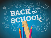 Back to school poster with doodles Stock Photo