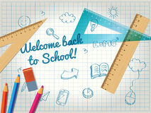 Back to school poster with doodles Stock Photos