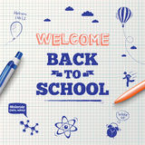 Back to school poster, education background. Stock Photos