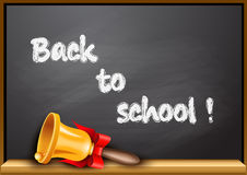 Back to school poster with golden bell Royalty Free Stock Images