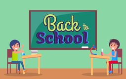 Back to School Inscription Written on Blackboard. Back to school poster with inscription written on blackboard and classroom with kids schoolboy and schoolgirl Royalty Free Stock Image