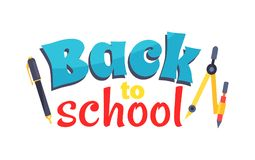Back to School Poster Isolated on White Vector Stock Photo