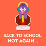 Back to School Poster. Back to School. Not Again - funny vector poster Stock Photos