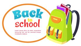 Back to School Poster with Open Schoolbag, Books Royalty Free Stock Images