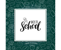 Back To School poster with pencil drawing. Vector hand lettering in frame. Knowledge day design concept. Royalty Free Stock Photography