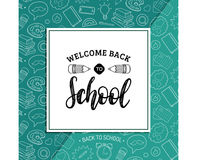Back To School poster with pencil drawing. Vector hand lettering in frame. Knowledge day design concept. Stock Photo