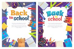 Back to School Poster with Place for Text in Frame. Back to school posters with set of stationery objects around frame as rucksack bags, paints with brush, ABC vector illustration