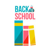 Back to school poster with row of books. Flat style vector illustration isolated on white background. Start of school season concept, poster design with Royalty Free Stock Images