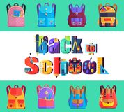 Back to School Poster with Rucksacks and Bags. Back to school poster with inscription made of stationary objects, chemical flasks, paint brushes pens and pencils Royalty Free Stock Photos