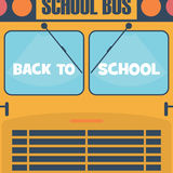 Back to school poster. School Bus front view with Stock Images