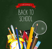 Back to School poster. School supplies green background Royalty Free Stock Photo