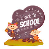 Back to school poster. Schoolboy and schoolgirl Stock Photo
