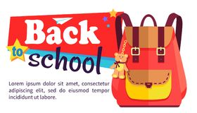 Back to School Poster with Schoolchild Rucksack Stock Photo