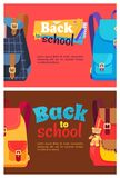 Back to School Poster with Schoolchild Rucksack. Back to school posters with colorful rucksacks for boys and girls. Backpacks with big pockets and metal Royalty Free Stock Images
