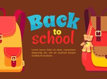 Back to School Poster with Schoolchild Rucksack Royalty Free Stock Photography