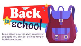 Back to School Poster with Schoolchild Rucksack Stock Photos
