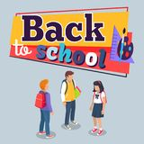 Back to School Poster with Schoolchildren Vector. Back to school poster with schoolchildren from secondary step with backpacks, vector illustration . Pupils Royalty Free Stock Photos