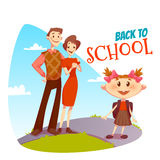 Back to school poster. Schoolgirl going in college Royalty Free Stock Photos