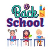 Back to School Poster with Stationary and Pupils. Back to school poster with first year pupils sitting at desks with textbooks, studying kids isolated on white Royalty Free Stock Images