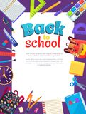Back to School Poster with Place for Text in Frame. Back to school poster with stationery objects around white frame for text as rucksack bag, paints with brush Royalty Free Stock Image
