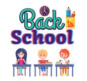 Back to School Poster with Stationary and Pupils. Back to school poster with stationery objects as clock, cup with pen and pencil and schoolchildren sitting at Stock Photo