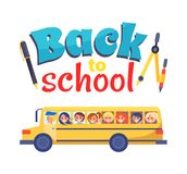 Back to School Poster Stationary Itema and Bus Stock Image