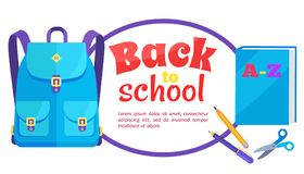 Back to School Poster Rucksack and Accessory Set. Back to school poster with stationery set of ABC book, scissors pen and pencil and backpack unisex in blue Royalty Free Stock Images