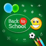Back to school poster template with text on chalkboard, isolated  illustration. Fun and cool. Royalty Free Stock Photos
