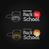 Back to school poster templates with text on chalkboard, isolated vector illustration. Royalty Free Stock Images