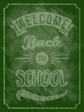 Back to school poster with text on chalkboard. Vector illustration. Royalty Free Stock Images