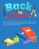 Back to School Poster Text, Stationery Equipment Stock Images