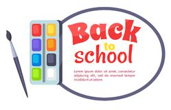Back to School Poster with Watercolor Paints Stock Photography