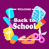 Back to school. Poster Welcome back to school. Vector illustration Stock Images