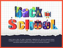 Back to School Posteron on Checkered Background. Back to school poster with inscription made of stationery objects, chemical flasks, paint brushes pens and Royalty Free Stock Image