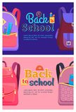 Back to School Posters with Backpacks for Children. With school stationery accessories pencils and rulers in pockets vector  in flat style Royalty Free Stock Images