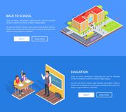 Back to School Posters with Isometric Illustration Stock Photography