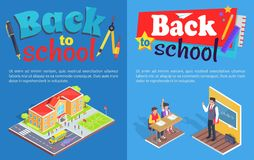 Back to School Posters with Isometric Illustration Stock Image