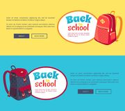 Back to School Posters with Fashionable Backpack Royalty Free Stock Photos
