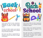 Back to School Posters Set with Place for Text. Back to school set of posters with stationery objects as rucksack bag, paints with brush, ABC book, scissors with Stock Photos