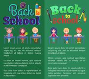 Back to School Posters with Stationary and Pupils. Back to school posters set with stationery objects as clock, cup with pen and pencil and schoolchildren Stock Image