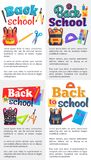 Back to School Posters Set with Place for Text. Back to school posters with stationery objects as rucksack bag, paints with brush, ABC book, scissors with rulers Stock Photography