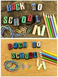 Back to school supplies letterpress royalty free stock photo