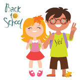 Back to school print design with two kids Stock Images