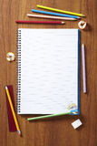 Back to School pupils art pencils and pad Royalty Free Stock Image