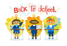 Back To School Pupils Group Sitting At Desk Studing Mix Race Schoolchildren Royalty Free Stock Images
