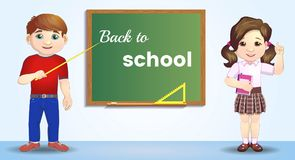 Back to school. Pupils near the blackboard. artoon character near blackboard. Great illustration for a school books and vector illustration
