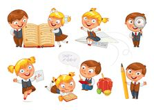 Back to school. Pupils read the textbook. Children do homework. Girl showing a good score. Boy looking through a magnifying glass. Boy draws big pencil drawing royalty free illustration