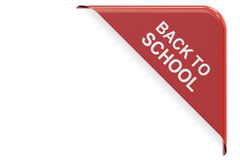 Back to School red corner, sale and discount concept. 3D renderi Royalty Free Stock Photo