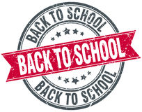 Back to school red round grunge vintage  stamp Royalty Free Stock Images